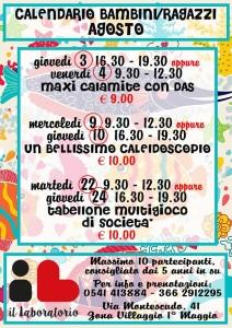 Calendario Laboratori Agosto